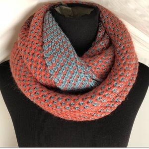 Reversible teal/coral hand-knit infinity scarf